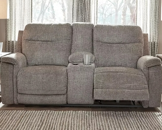 Mouttrie Smoke Power Reclining Love with Console 7320518