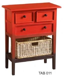3 Drawer Accent Table Red /BX-TAB 011S RDLD RAFT TOP