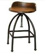"24-30"" BARSTOOL ADJUSTABLE!! Solid Iron/Wood"