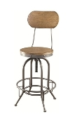 Weathered Brown Wood and Metal Adjustable Bar Stool
