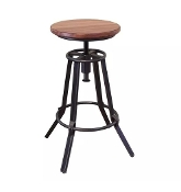 "24-30"" Adjustable Swivel Stool  Wood/Iron (Last One!)"
