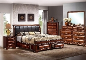 Lincoln Padded Platform Storage Bed Queen size Solid Wood!