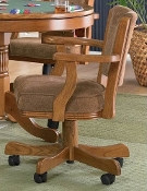 Oak/upholstered Castered Chair (CLOSEOUT!)