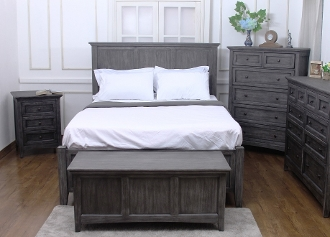 NewTraditions Solid Mahogany E.King Platform/Storage Bed Grey