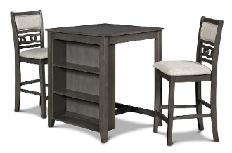 Gia - Gray 30 Inch Counter Table With 2 Chairs And Shelf Unit