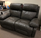Leather Power Space Saver Loveseat /Grey Leather